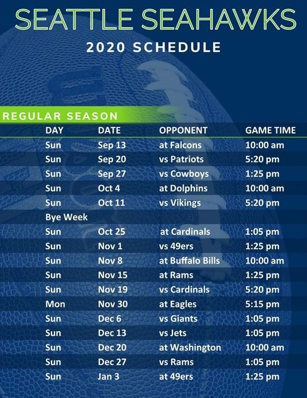 Seahawks Game Time Schedule For 2020
